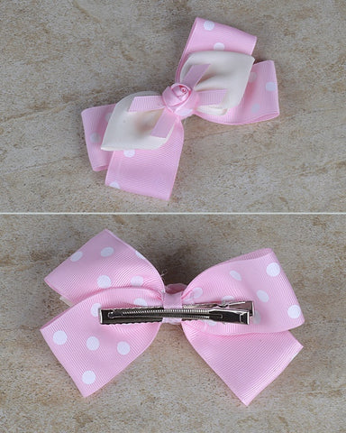 Double Hued Polka Dotted Bow Clip - zakastore