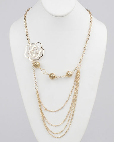 Flower Cutout Beads Layered Link Chain Necklace - zakastore