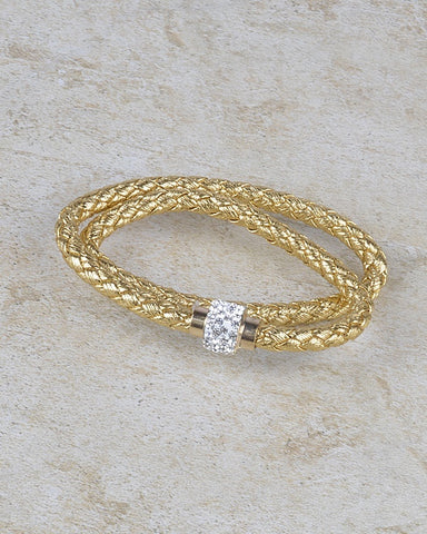 Double Layered Braided Design Bracelet with Crystal Studded Ring Accent - zakastore