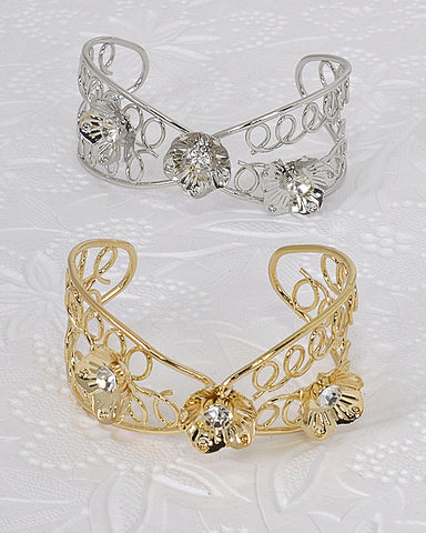 Floral Design Crystal Studded Open End Bracelet - zakastore