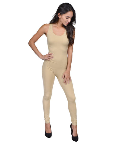 jumpsuit featuring a sleeveless cut and scoop neck