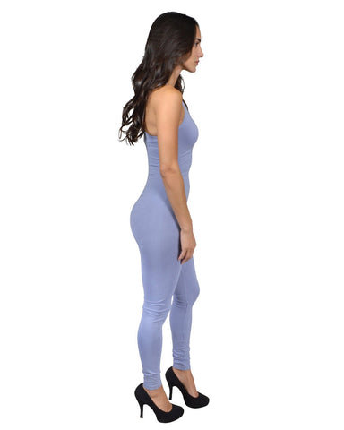 pull-on style jumpsuit, form-fitting silhouette