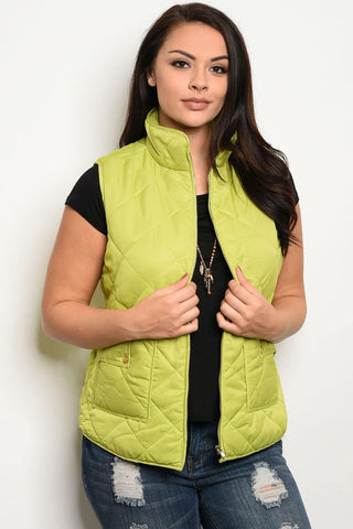 Ladies fashion plus size sleeveless puffer vest that features a mock neckline and zipper closure - zakastore