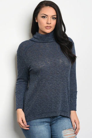 Ladies fashion plus size long sleeve knit top that features a turtle neck - zakastore