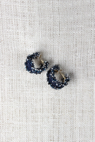 Denim Ruffle Hoop Earrings - zakastore