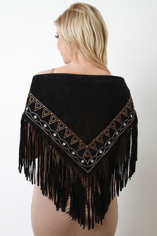 Embroidered Fringe Suede Triangle Scarf - zakastore