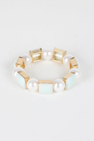 Faux Pearl And Square Bracelet - zakastore