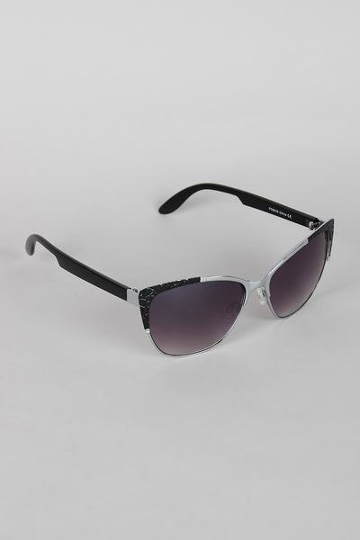 Textured Mod Semi-Rimless Sunglasses - zakastore
