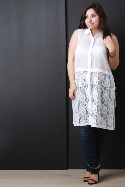 Semi-Sheer Floral Lace Sleeveless Button-Up Top - zakastore