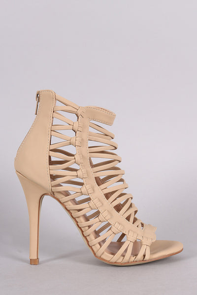 Nubuck Strappy Knotted Stiletto Heel