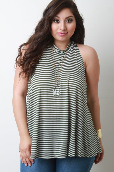 Striped Jersey Knit Mock Neck Sleeveless Top