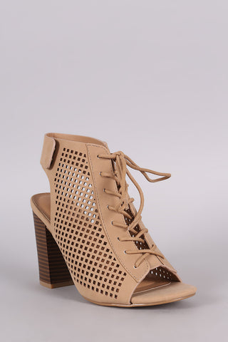 Bamboo Perforated Nubuck Lace Up Chunky Heeled Mule Booties