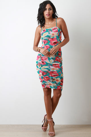 Floral Mesh Ruched Bodycon Dress
