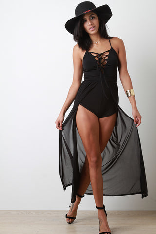 Corset Lace-Up Front Slit Mesh Romper Dress