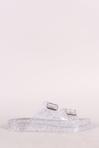 Bamboo Glitter Open Toe Buckled Jelly Slide Sandal