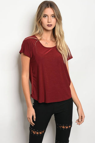 Ladies fashion short sleeve jersey relaxed fit top with a scoop neckline - zakastore
