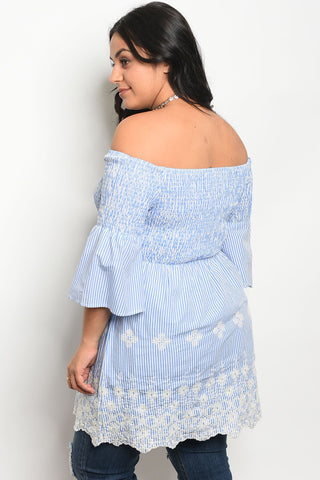 Ladies fashion plus size 3/4 sleeve off the shoulder top with lace details - zakastore