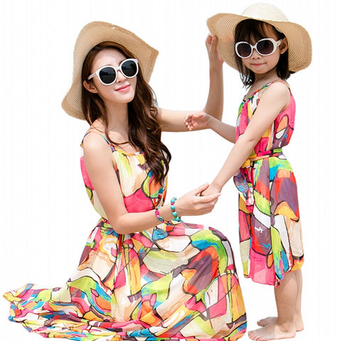 Mother daughter summer colorful dresses clothing
