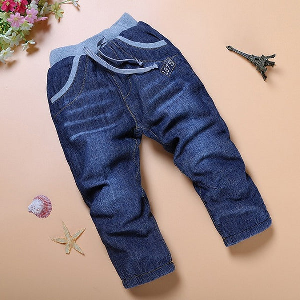 SK042  high quality 1pcs winter thick kids Jeans