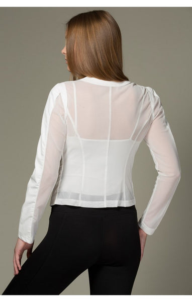 white mesh back coat