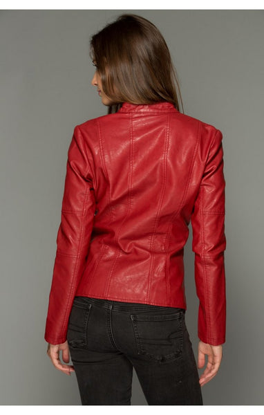 Flaming Red Double Zipper Jacket