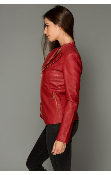 red jacket side view