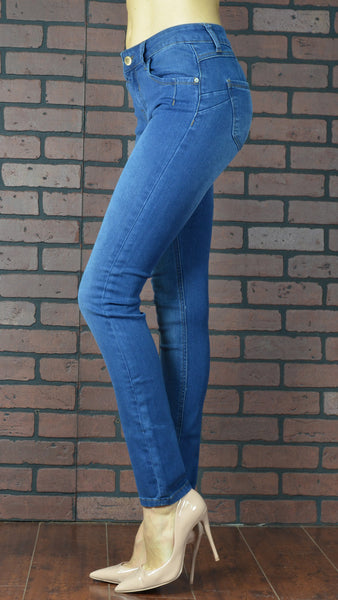 blue skinny jeans side view