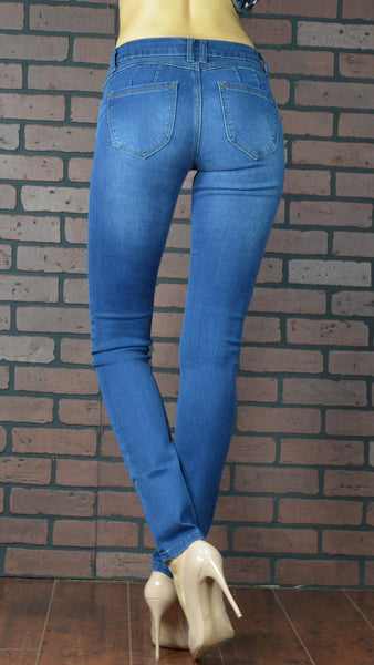 plumping blue skinny jeans