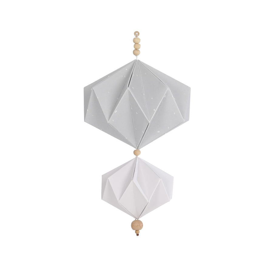 Origami Mobile - GREY & WHITE w/ wooden beads