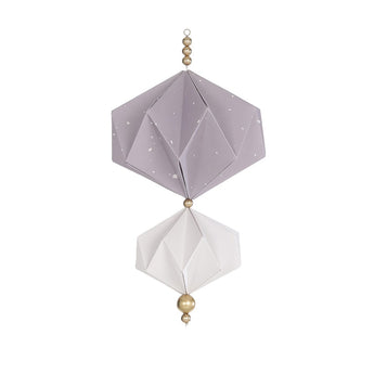 Origami Mobile - DUSTY LAVENDAR & WHITE w/ golden beads