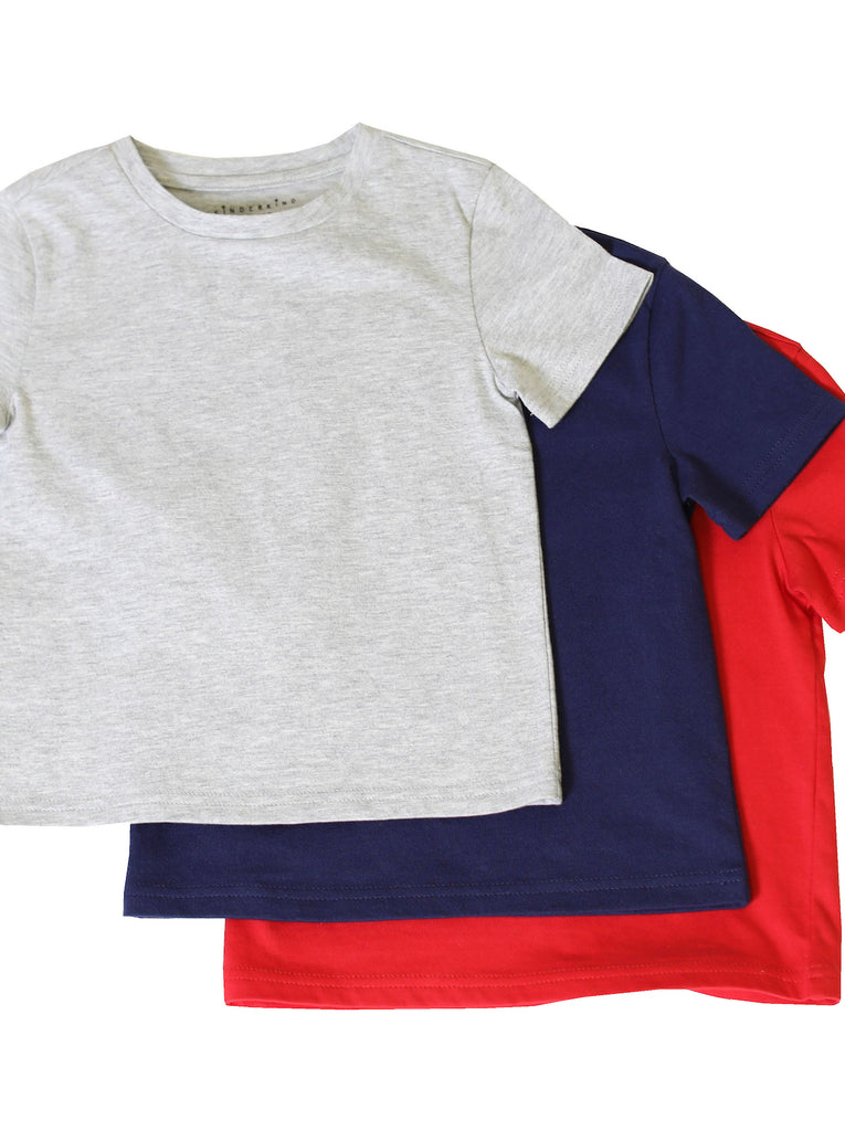 Boys Basic 3-Pack Solid Gray/Navy/Red Short-Sleeve Tee Shirts