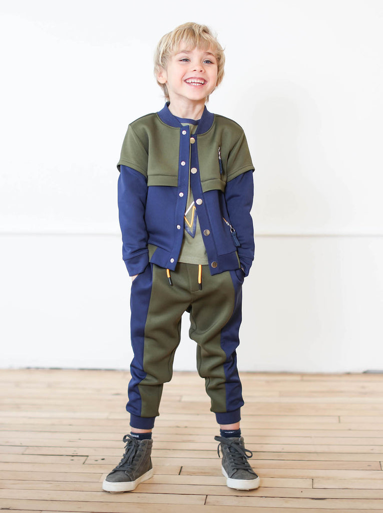Kinderkind 2T 3T 4T 5T 6 7 kids apparel Baby clothes Children's clothing  Kids Fashion Kids clothing  toddler clothes machine washable  Playwear  Boys clothing  Boys Scuba Jogger Pull on jogger Pieced elastic waistband Side welt pocket Rib cuff Color block detail Navy and olive  Machine washable 96% poly and 4% spandex scuba