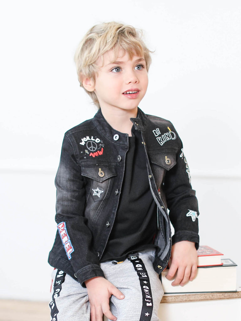 Kinderkind 2T 3T 4T 5T 6 7 kids apparel Baby clothes Children's clothing  Kids Fashion Kids clothing  toddler clothes machine washable  Playwear  Boys clothing  Boys Denim Jacket Denim jacket with drop shoulder Front flap detail Fun embroidery and graphic details Contrast stitching Black denim Imported Machine washable 67% cotton 30% poly 3% spandex denim