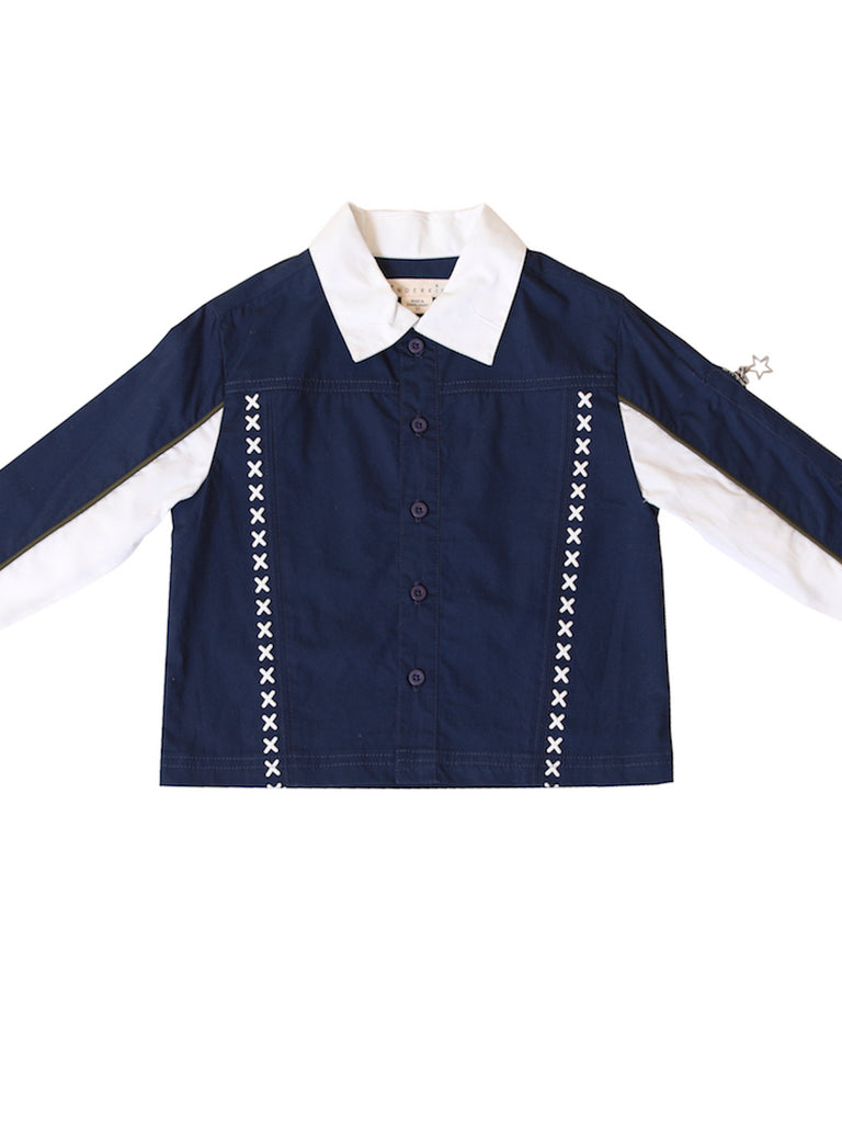 Boys Color Block Button Up Shirt