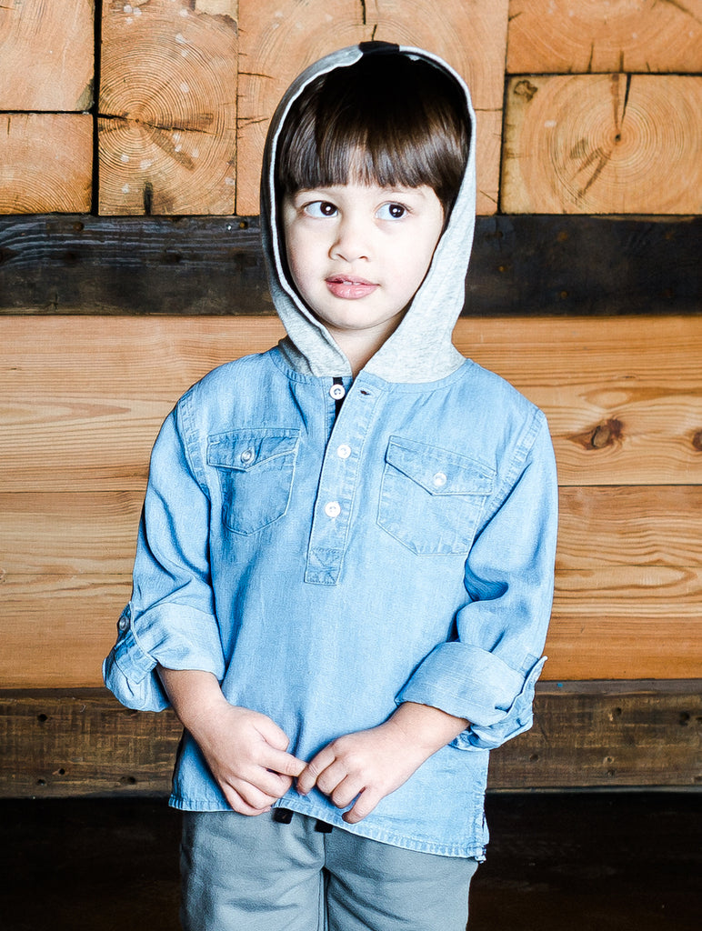 Kinderkind 2T 3T 4T 5T 6 7 kids apparel Baby clothes Children's clothing  Kids Fashion Kids clothing  toddler clothes machine washable  Playwear  Boys clothing  Boys Hoodie Henley Chambray henley with jersey hood and fun screen-print at back Front flap pockets Imported Machine washable 100% tencel chambray 95% cotton 5% spandex french terry
