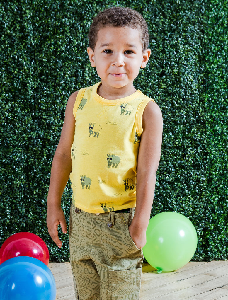 Kinderkind 2T 3T 4T 5T 6 7 kids apparel Baby clothes Children's clothing  Kids Fashion Kids clothing  toddler clothes machine washable  Playwear  Boys clothing  Boys Rhino Tank and Pull-on Canvas Shorts Tank with rhino print