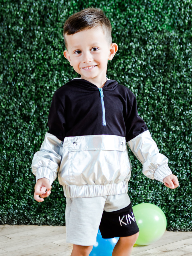 Kinderkind 2T 3T 4T 5T 6 7 kids apparel Baby clothes Children's clothing  Kids Fashion Kids clothing  toddler clothes machine washable  Playwear  Boys clothing  Boys Color Blocked Pull-over Hoodie and Pull-on Knit Shorts Set Pull-over hoodie Kangaroo Pockets  Half Zip Pull-on elastic waistband short with color blocked left leg  Foil graphic detail  Side welt pockets Machine washable 100% polyester mesh 100% polyester metallic microfiber 95% cotton 5% spandex french terry