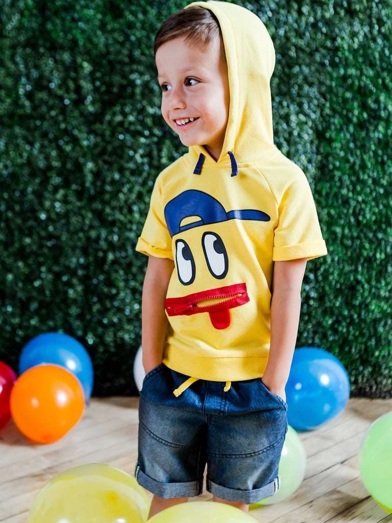Boys Short Sleeve Graphic Hoodie and Pull-On Denim Shorts Sets