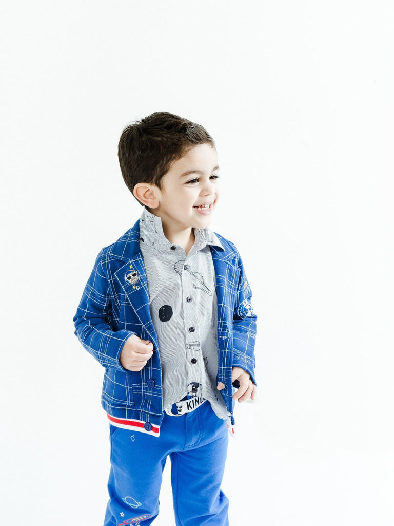 Boy's Knit Blazer with Ribbed Knit Waistband