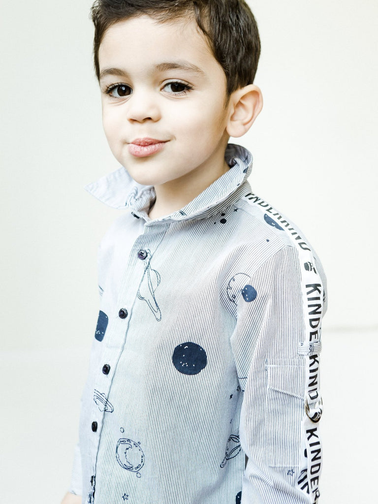 Boy's Rocket System Poplin Shirt with Grograin Sleeve