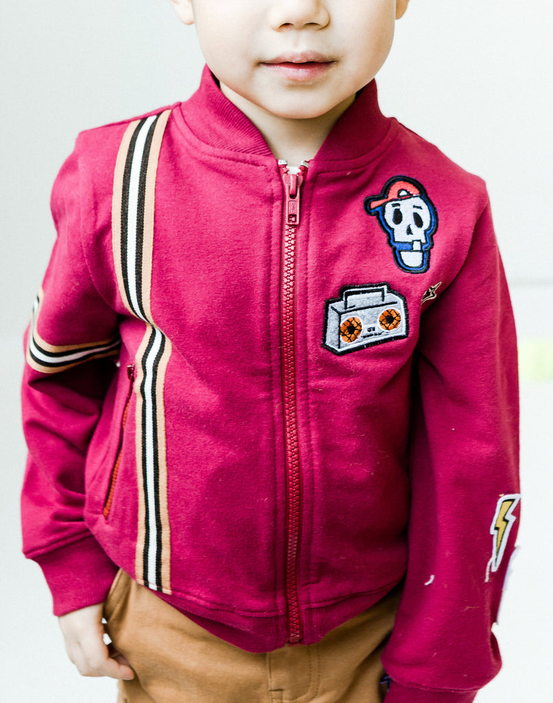 Kinderkind 2T 3T 4T 5T 6 7 kids apparel Baby clothes Children's clothing  Kids Fashion Kids clothing  toddler clothes machine washable  Playwear  Boys clothing  Boy's Zip-Up Jacket with Patchwork Soft zip-up jacket makes the perfect staple to his wardrobe  Features functional pockets Patch details Cotton, Spandex Machine Washable, Do Not Bleach Imported
