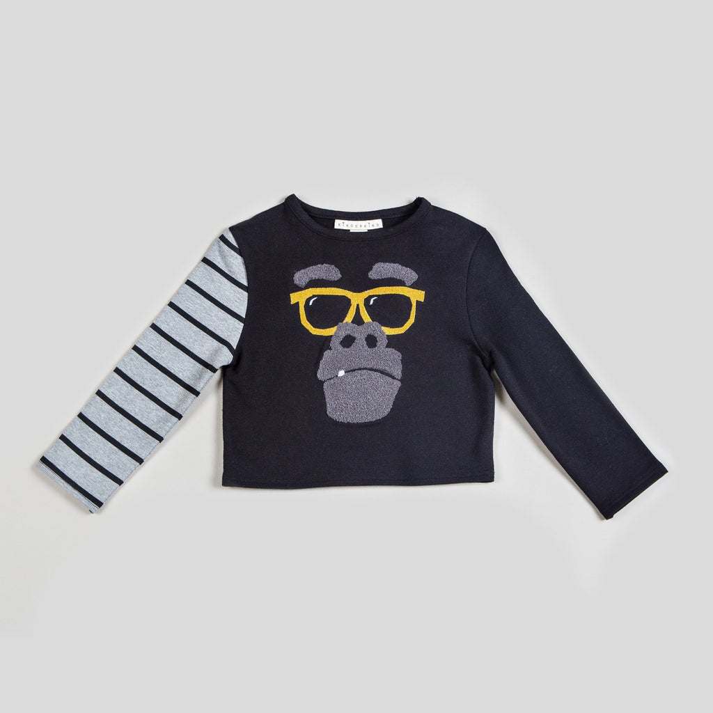 Kinderkind 2T 3T 4T 5T 6 7 kids apparel Baby clothes Children's clothing  Kids Fashion Kids clothing  toddler clothes machine washable  Playwear  Boys clothing  Boy's Striped Kinderkind Kool Striped Top & Pants Set Pullover sweatshirt with chenille gorilla patch and embroidered sunglasses Solid and stripe leg jogger with diagonal zip details Machine Washable 95% Cotton 5% Spandex French Terry