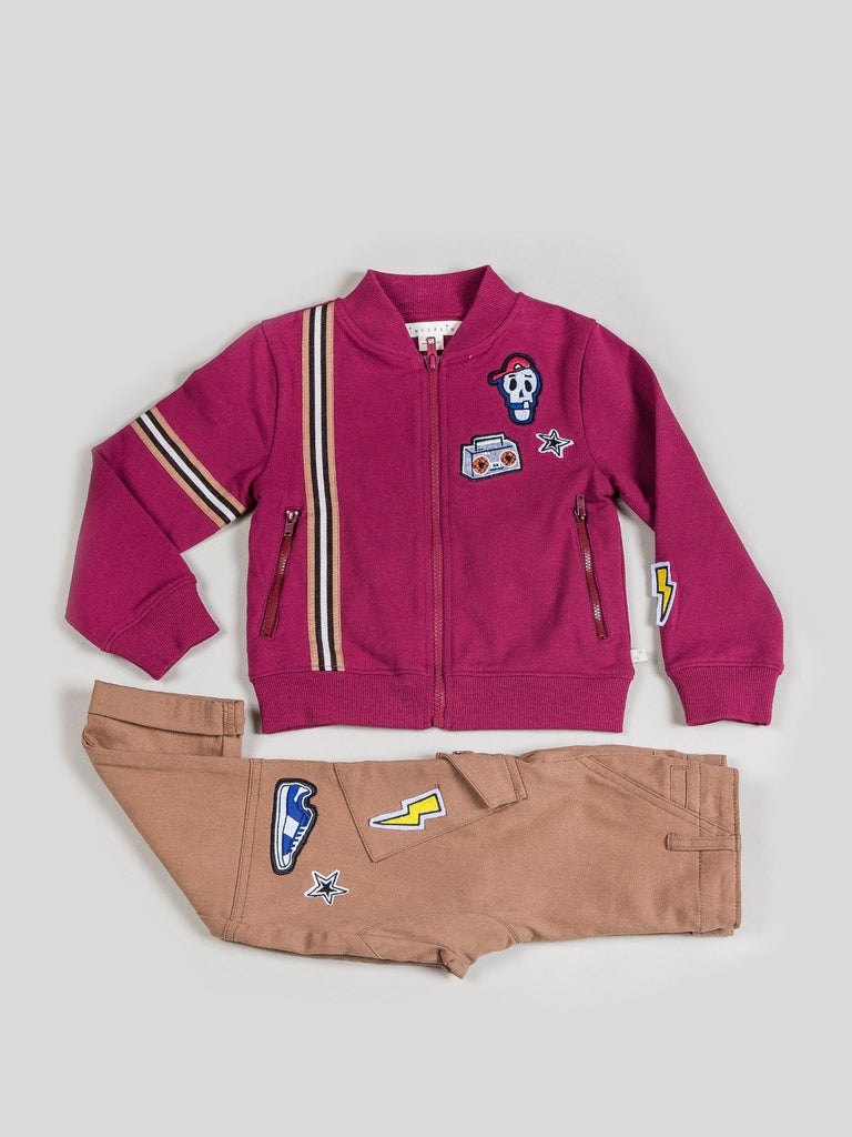Boys Zip Up Jacket & Twill Pants Set