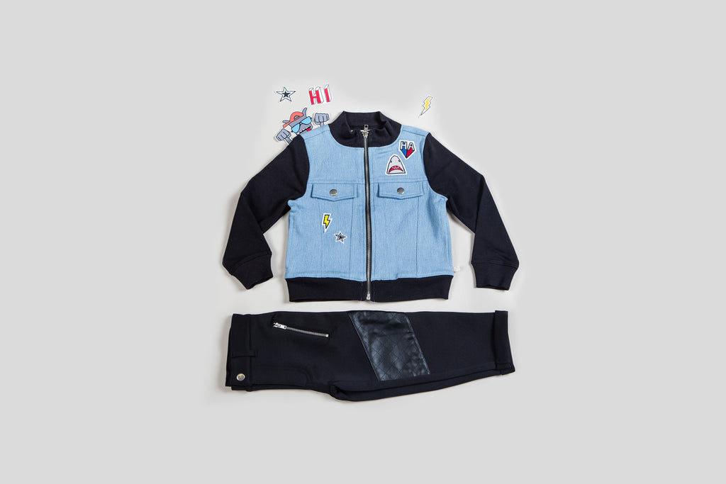 Kinderkind 2T 3T 4T 5T 6 7 kids apparel Baby clothes Children's clothing  Kids Fashion Kids clothing  toddler clothes machine washable  Playwear  Boys clothing  Boy's Mixed Media Patchwork Jacket and Pant Set Zip-up jacket with faux pocket flap detail and high mock neck Moto pants with diagonal zippers and faux leather details Machine Washable, tumble dry, do not bleach Jacket: 95% Cotton 5% Spandex French Terry Btm: 100% Poly Leather and 100% Poly Scuba