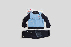 Boy's Mixed Media Patchwork Jacket Set