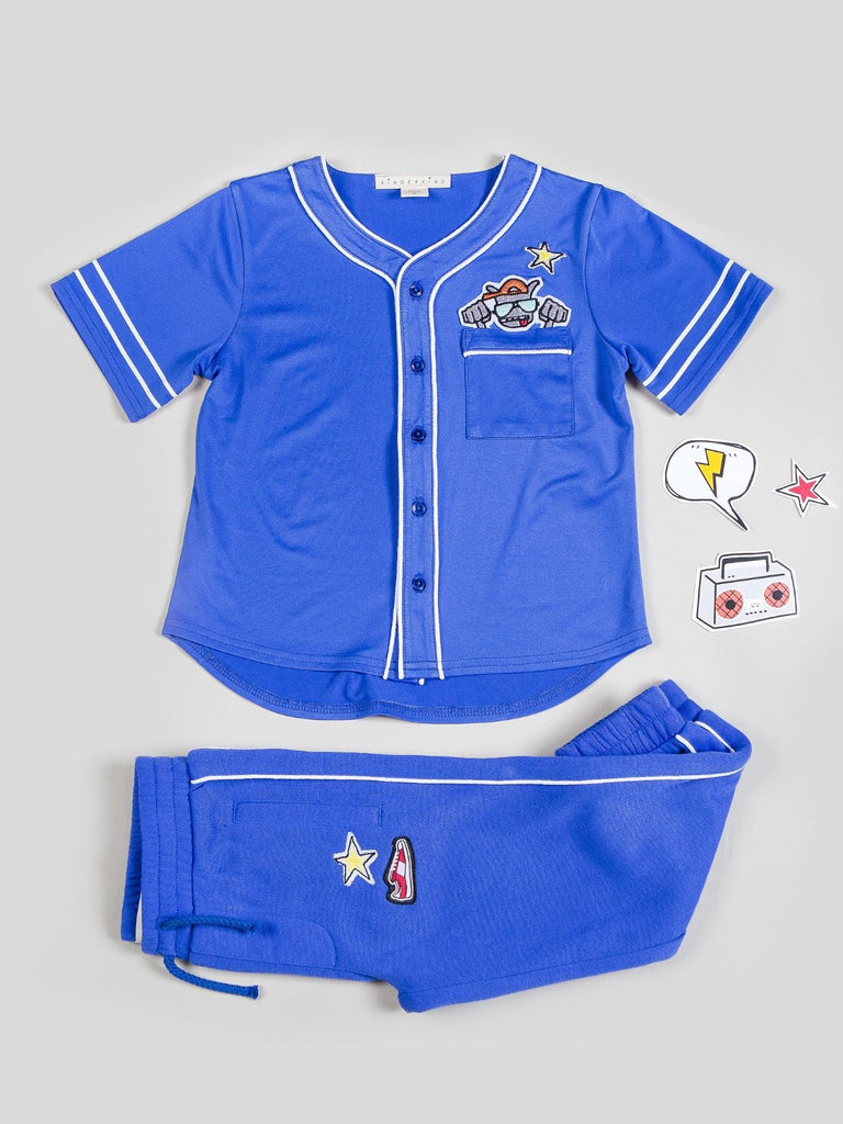 Boy's Short Sleeve Tracksuit with Patchwork Set Classic baseball tee with fun monster character peeking out of front pocket Classic track jogger with contrast white piping Machine Washable Top: 100% Poly Jersey Btm: 100% Poly Matte Tricot