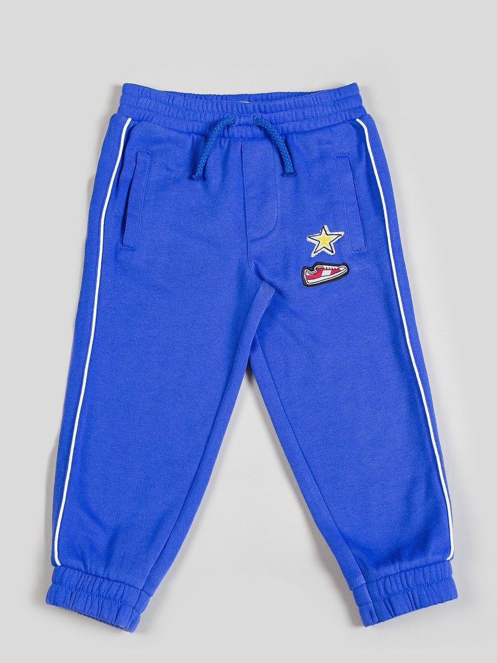 Boy's Blue Tracksuit Pant with Patchwork
