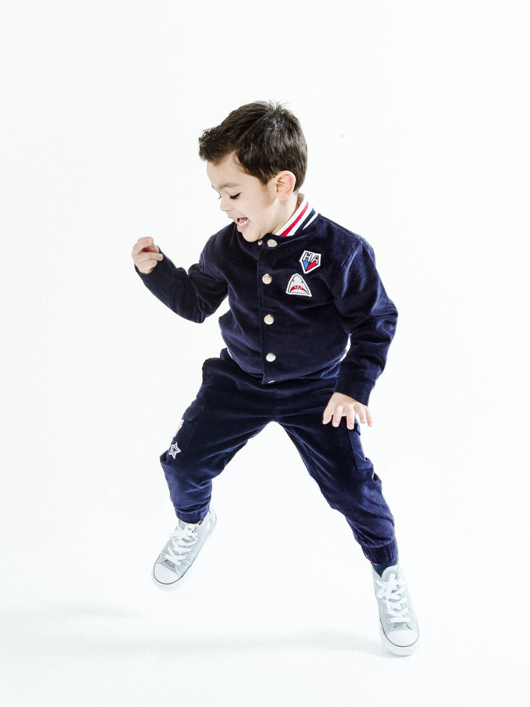 Kinderkind 2T 3T 4T 5T 6 7 kids apparel Baby clothes Children's clothing  Kids Fashion Kids clothing  toddler clothes machine washable  Playwear  Boys clothing  Boy's Corduroy Bomber with Ribbed Knit Waistband and Jogger Pants Set Rib neck and waistband detail Fun patch details Imported Machine Washable 100% Poly Scuba