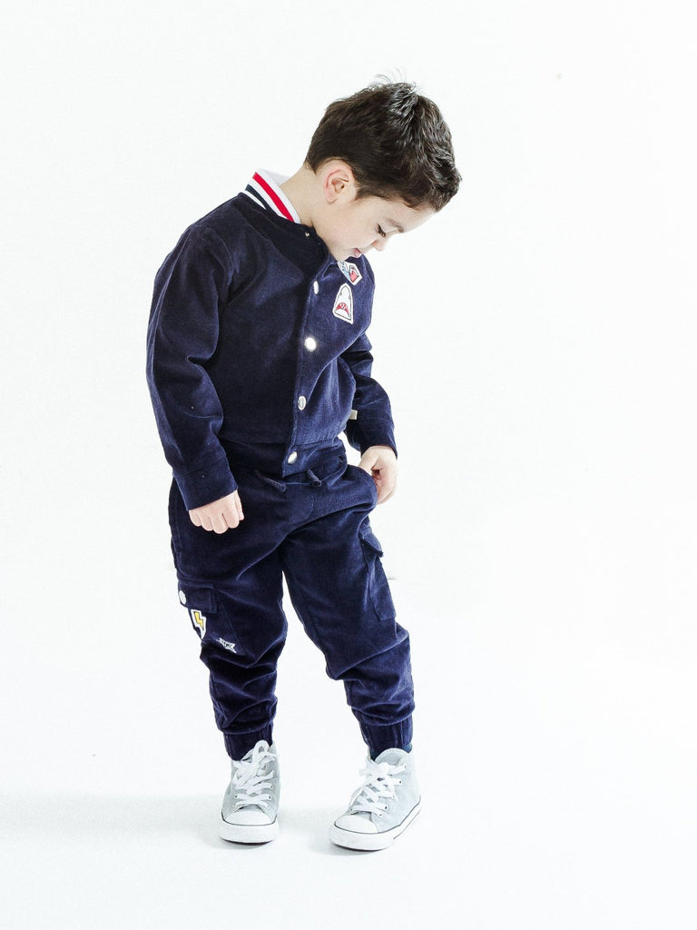 Boy's Corduroy Bomber with Ribbed Knit Waistband and Jogger Pants Set