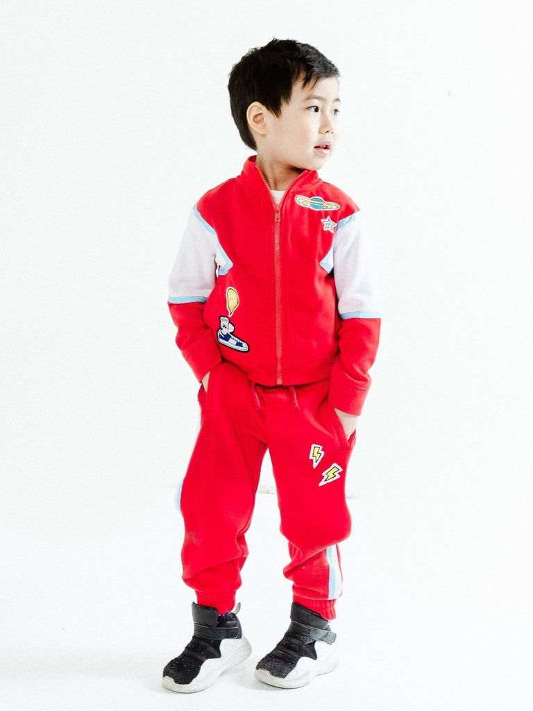 Kinderkind 2T 3T 4T 5T 6 7 kids apparel Baby clothes Children's clothing  Kids Fashion Kids clothing  toddler clothes machine washable  Playwear  Boys clothing  Boy's Tracksuit Set Zip-Up jacket  Elastic waist Tie waist detail Functional pockets Fun patch details Machine Washable 100% Poly Matte Tricot